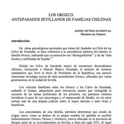Los Orozco. Antepasados sevillanos de familias chilenas.