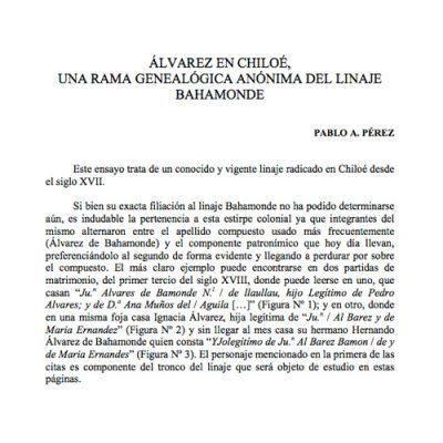 Álvarez en Chiloé. Una rama genealógica anónima del linaje Bahamonde.