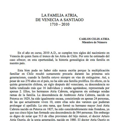 La familia Atria, de Venecia a Santiago, 1710 -2010.