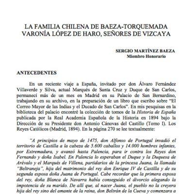 La familia chilena de Baeza-Torquemada. Varonía López de Haro, Señores de Vizcaya.