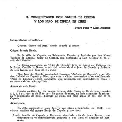 El conquistador don Gabriel de Cepeda y los Niño de Zepeda en Chile