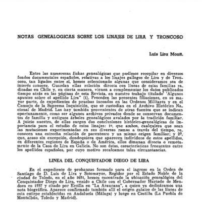 Notas genealógicas sobre las familias Lira y Troncoso