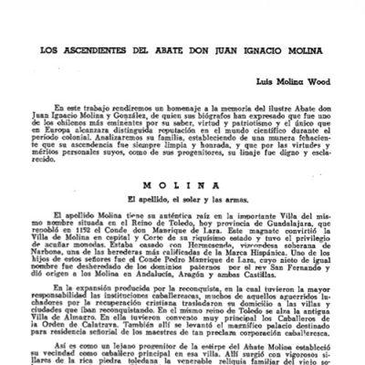 Los ascendientes del abate don Juan Ignacio Molina