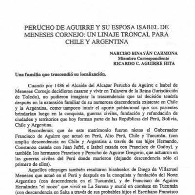 Perucho de Aguirre y su esposa Isabel de Meneses Cornejo: un linaje troncal para Chile y Argentina.
