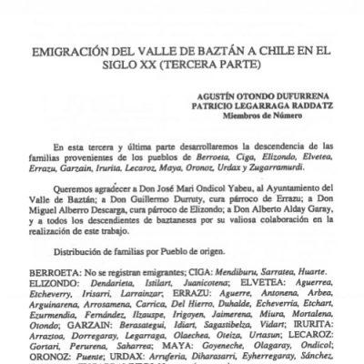 Emigración del valle del Baztán a Chile en el siglo XX (Tercera Parte)
