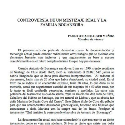 Controversia de un mestizaje real y la familia Bocanegra