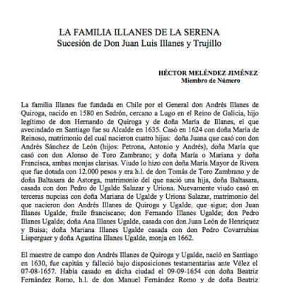 La familia Illanes de La Serena. Sucesión de Don Juan Luis Illanes y Trujillo.