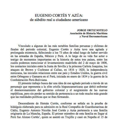 Eugenio Cortés y Azúa: de súbdito real a ciudadano americano.