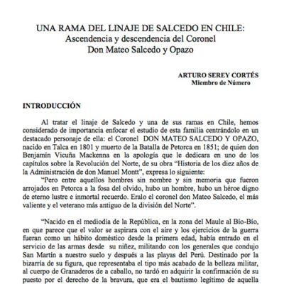 Una rama del linaje Salcedo en Chile: Ascendencia y descendencia del Coronel Don Mateo Salcedo y Opazo.