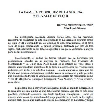 La Familia Rodriguez de La Serena y el Valle de Elqui