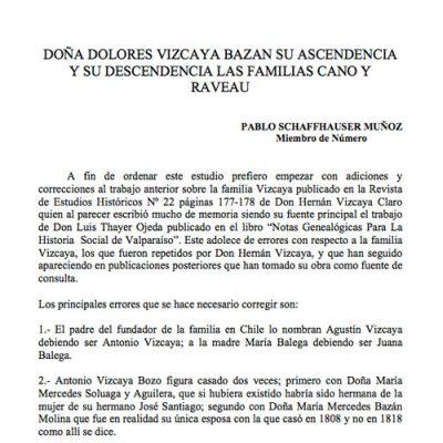 Doña Dolores Vizcaya Bazan su Ascendencia y su descendencia: Las Familias Cano y Raveau