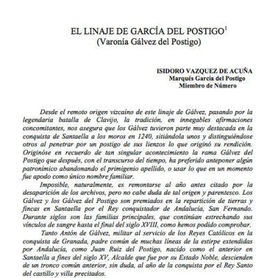 El linaje de García del Postigo (Varonía Gálvez del Postigo)