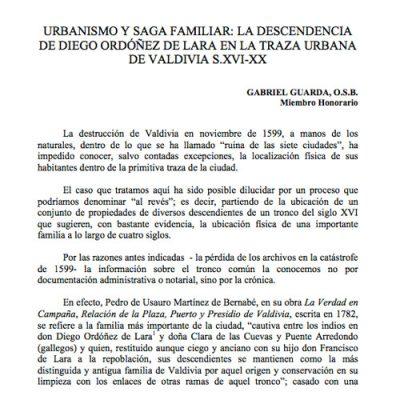 Urbanismo y saga familiar: La Descendencia de Diego Ordóñez de Lara en la traza urbana de Valdivia s.XVI – XX.