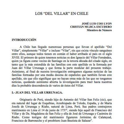 """Los """"Del Villar"""" en Chile."""