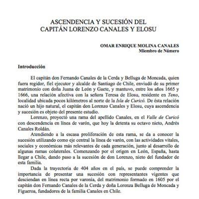 Ascendencia y sucesión del capitán Lorenzo Canales y Elosu.