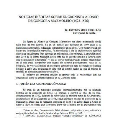 Noticias inéditas sobre el cronista Alonso de Góngora Marmolejo (1523-1576)