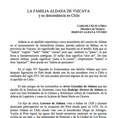 La familia Aldana de Vizcaya y su descendencia en Chile.