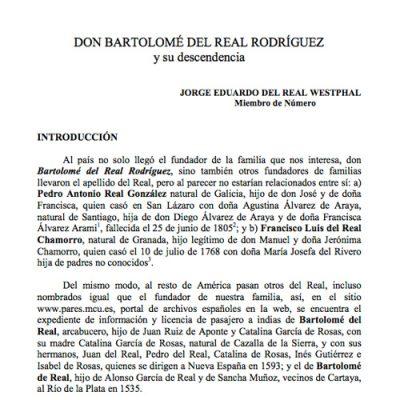 Don Bartolomé del Real Rodríguez y su descendencia.