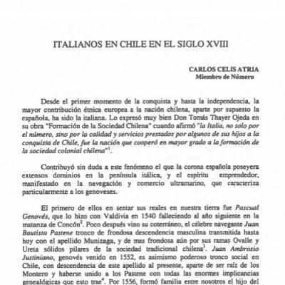 Italianos en Chile en el siglo XVIII