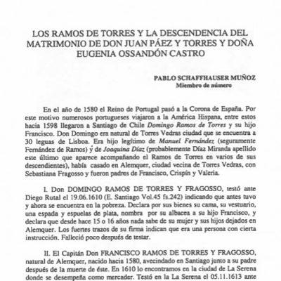 Los Ramos de Torres y la descendencia del matrimonio de don Juan Páez y Torres y doña Eugenia Ossandón Castro.