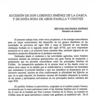 Sucesión de don Lorenzo Jiménez de la Gasca y de doña Rosa de Abós – Padilla y Chávez.