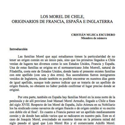 Los Morel de Chile, originarios de Francia, España e Inglaterra