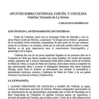 Apuntes sobre Cisternas, Cortés, y Cocolina. Familias troncales de La Serena