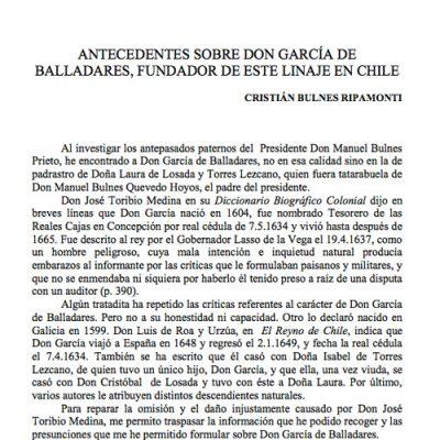 Antecedentes sobre don García de Balladares, fundador de este linaje en Chile