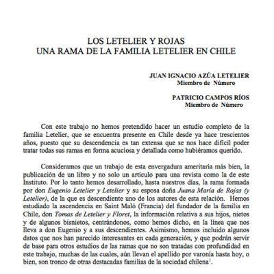 Los Letelier y Rojas. Una rama de la familia Letelier en Chile.