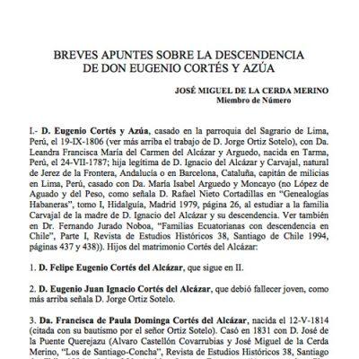 Breves apuntes sobre la descendencia de don Eugenio Cortés y Azúa.