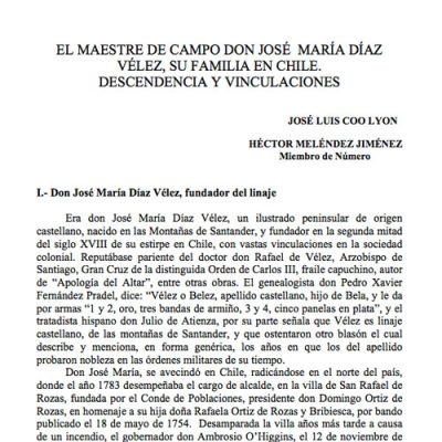 El maestre de campo don José María Díaz Vélez, su familia en Chile. Descendencia y vinculaciones.