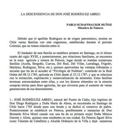 La descendencia de don José Rodríguez Abreu.
