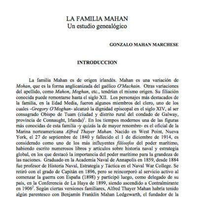 La familia Mahan. Un estudio genealógico.