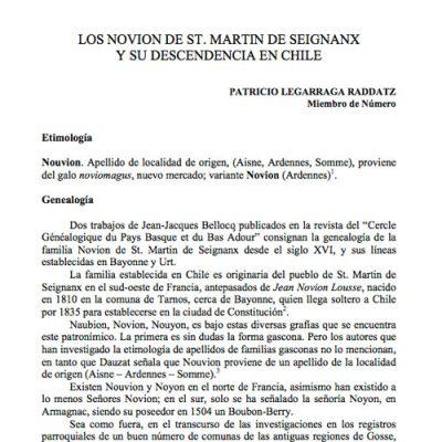 Los Novion de St. Martin de Seignanx y su descendencia en Chile.