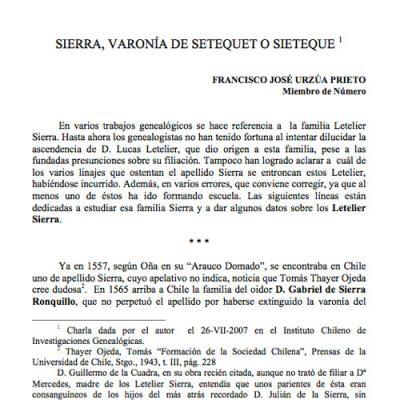 Sierra. Varonía Setequet o Sieteque.